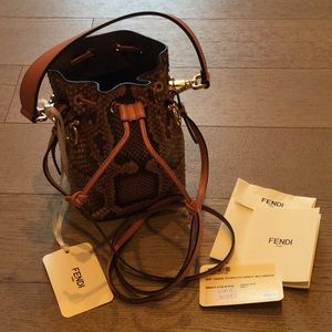 Fendi MonTresor Pink Snakeskin Mini Bucket Bag